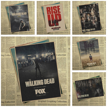 Walking Dead TV Vintage Retro Mat Kraft Kağıt Antika Poster Duvar Sticker